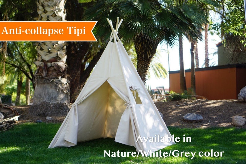 Teepee plain with window kids Teepee with nature canvas and image 0