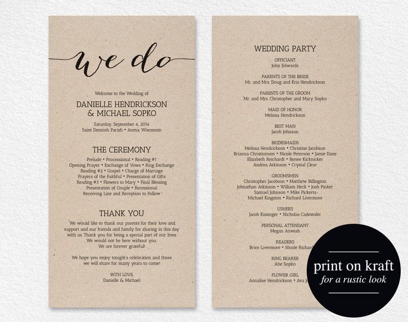 Wedding Program Printable Template Printable Program Program image 0