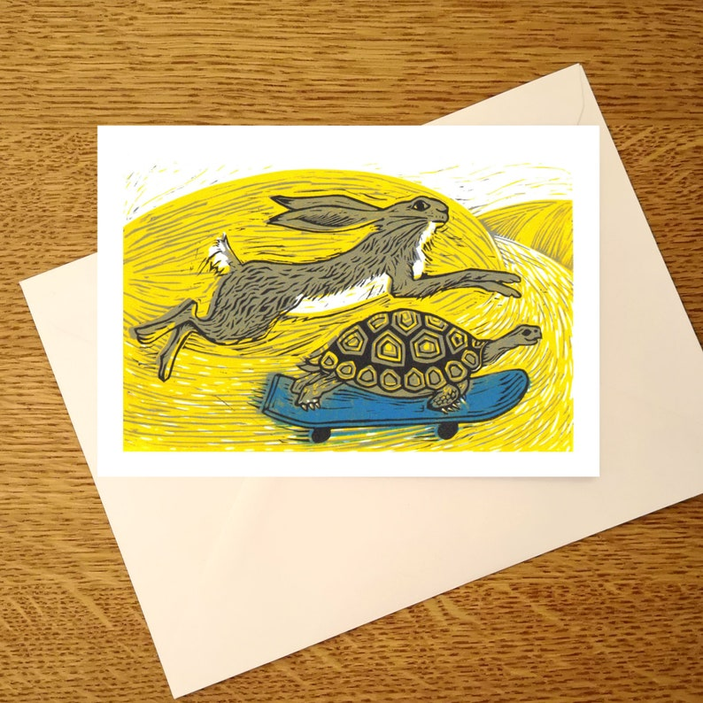 Tortoise and Hare A6 greetings card for hare and tortoise image 0
