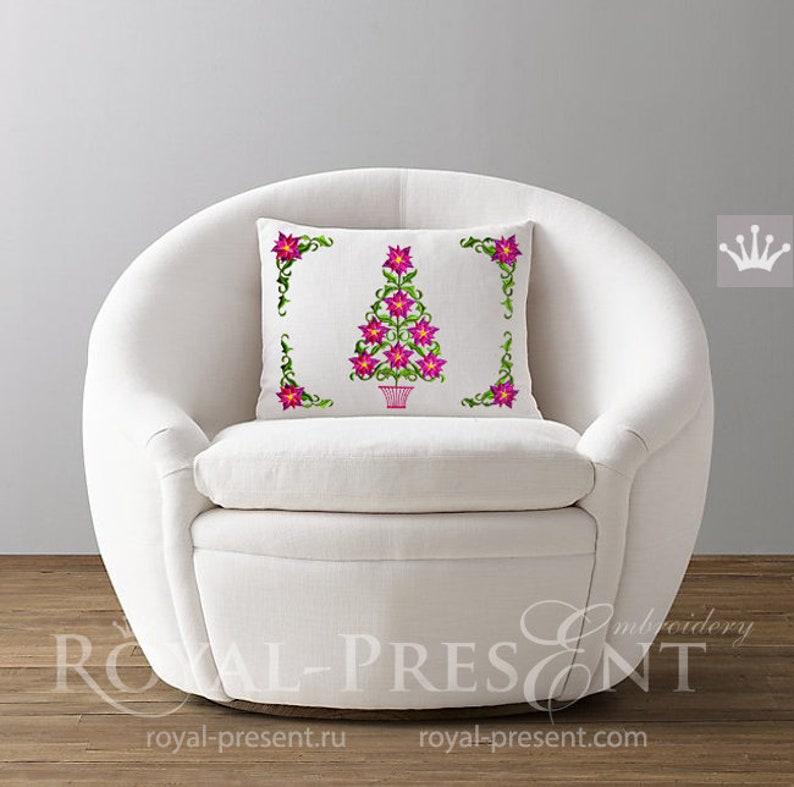 Poinsettia Christmas Tree Machine Embroidery Designs Set  3 image 0