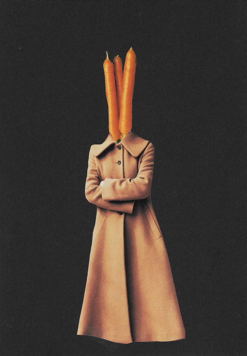 paper collage art surreal collage art food art I don/'t carrot all. mixed media collage food print Minimalist art carrot wall art