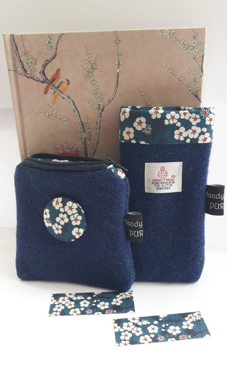 Harris Tweed Blue Coin Purse Something Blue Liberty Mitsi image 0
