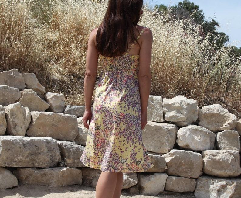 Vintage multi color floral cotton midi summer dress.size 36 s