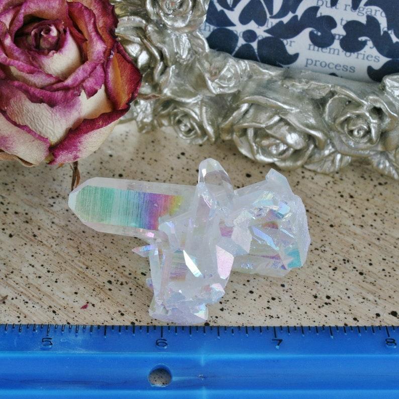 2.23x1.43x1.32 Opal Aura Quartz Crystal Cluster 28.4 grams Angel Aura Quartz Cluster from Arkansas