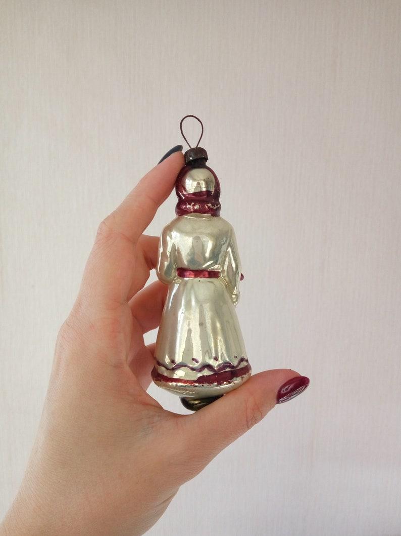 Snow maiden glass Christmas ornament vintage  soviet retro New Year tree decorations  bright and shiny mercury glass