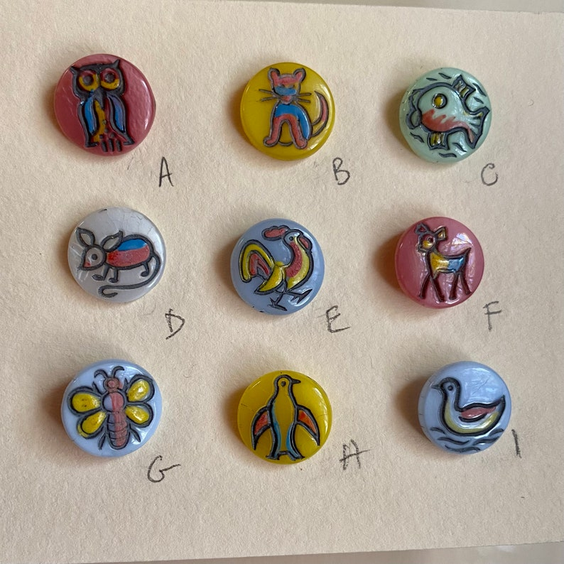 Vintage Glass Animal Buttons. Kiddie Buttons. Doll Buttons. image 0