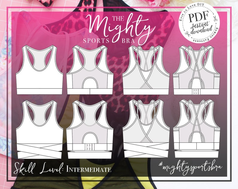 Mighty Sports Bra Sewing Pattern PDF Instant Download  Evie image 0