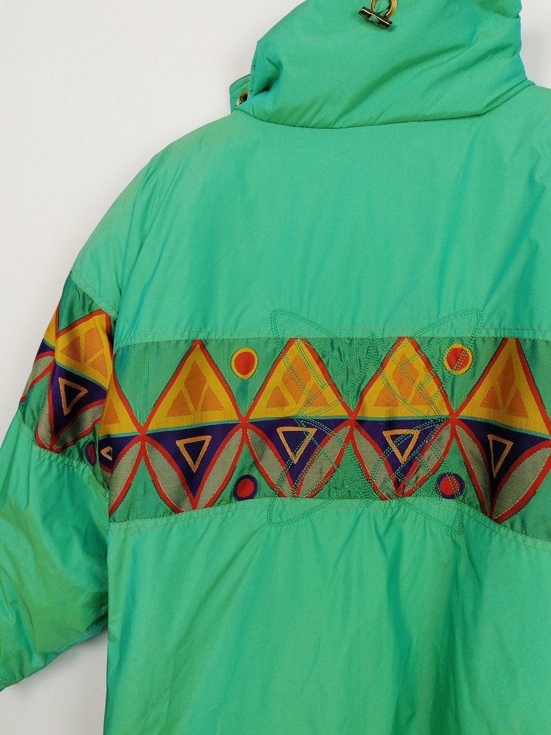 Vintage 80/'s *Rare* HCC Henri Charles Colsenet Winter Ski Jacket Retro Coat Retro Pattern Shiny Green size M