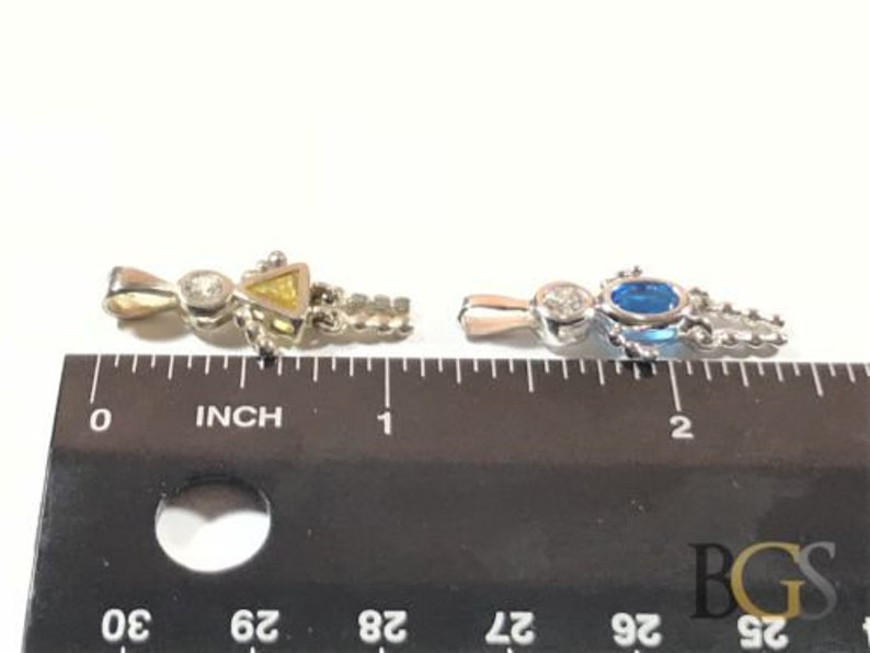 3 Take A Look! Lot Ladies Sterling Silver Topaz People Necklace Pendants
