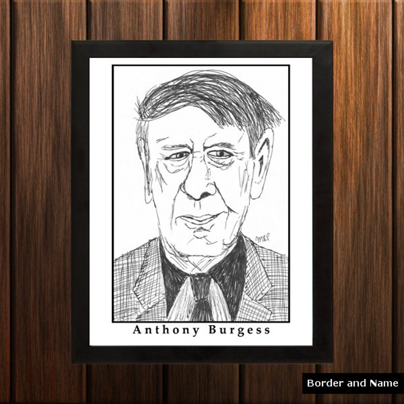 Anthony Burgess  Sketch Print  8.5x11 inches  Black and image 0