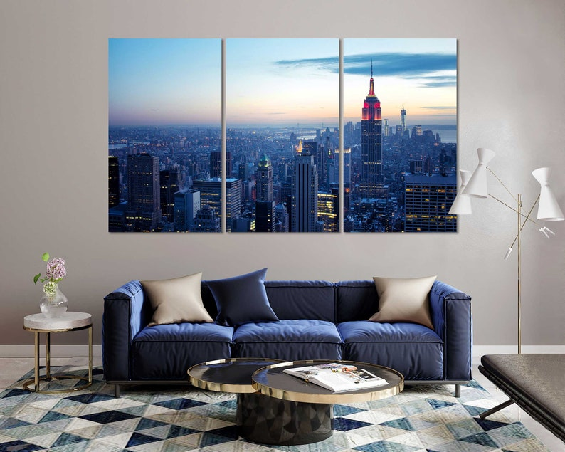 Empire State Building Print Canvas Decor Evening New York City Art For Home Night City Room Wall Art American City Painting on Canvas
