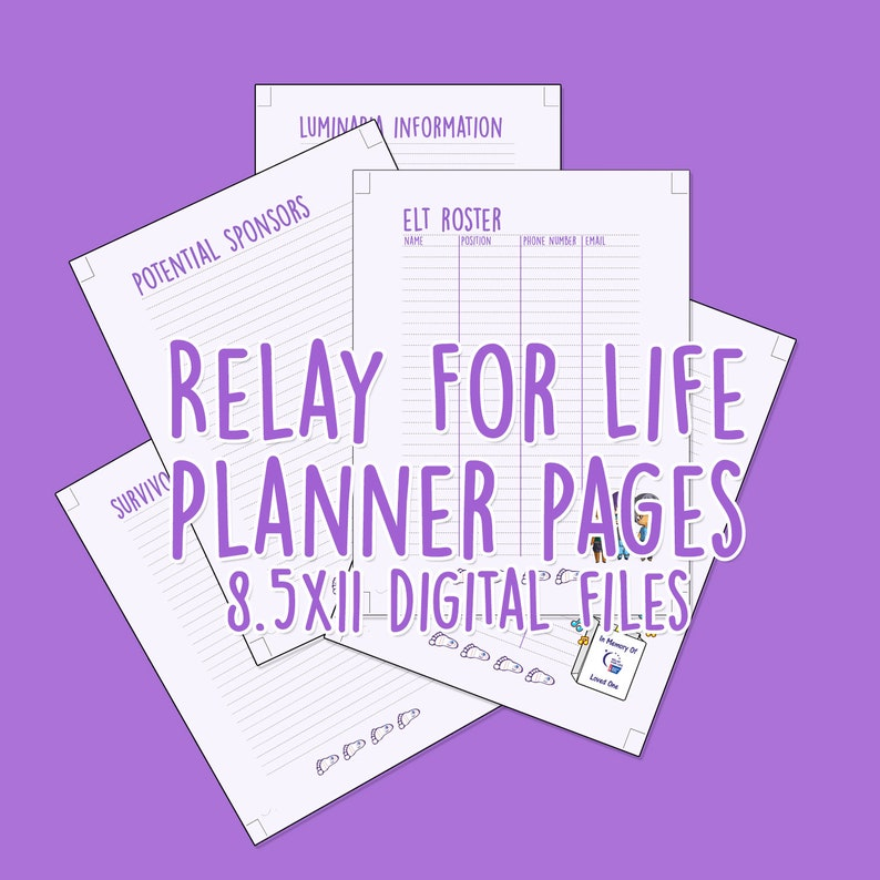Relay For Life 85 x 11 planner pages image 0