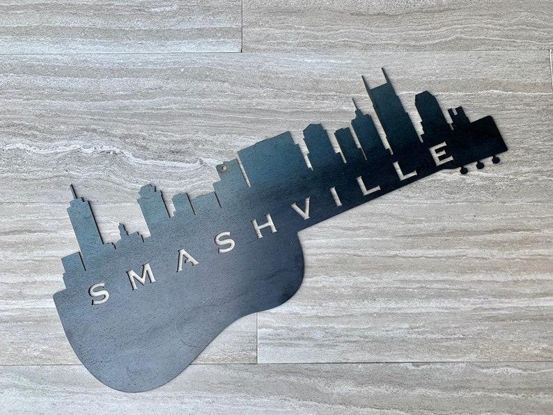 Hockey Fans Hockey Smashville Hockey Decor Smashville Guitar Nashville Skyline Sign Nashville Skyline Nashville Predators