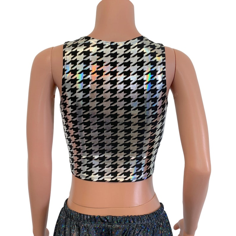 Lace-Up Crop Top *Houndstooth Holo /& Neon* Corset Top Festival Outfit Rave Crop Top