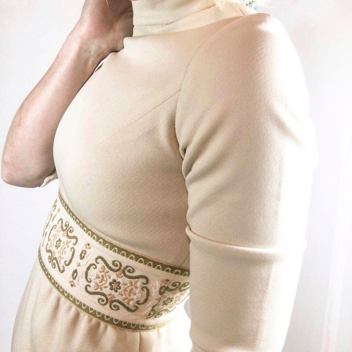 1960's Mod Cream Embroidered Dress