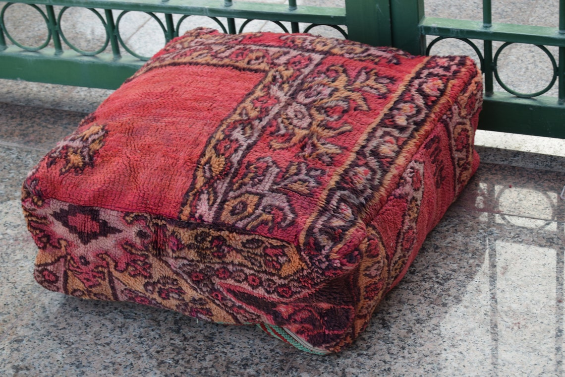 Rare Multicolor Berber Pouffe Best selling Vintage furniture Home decor footstool Handmade design poufs Azilal Floor pouf