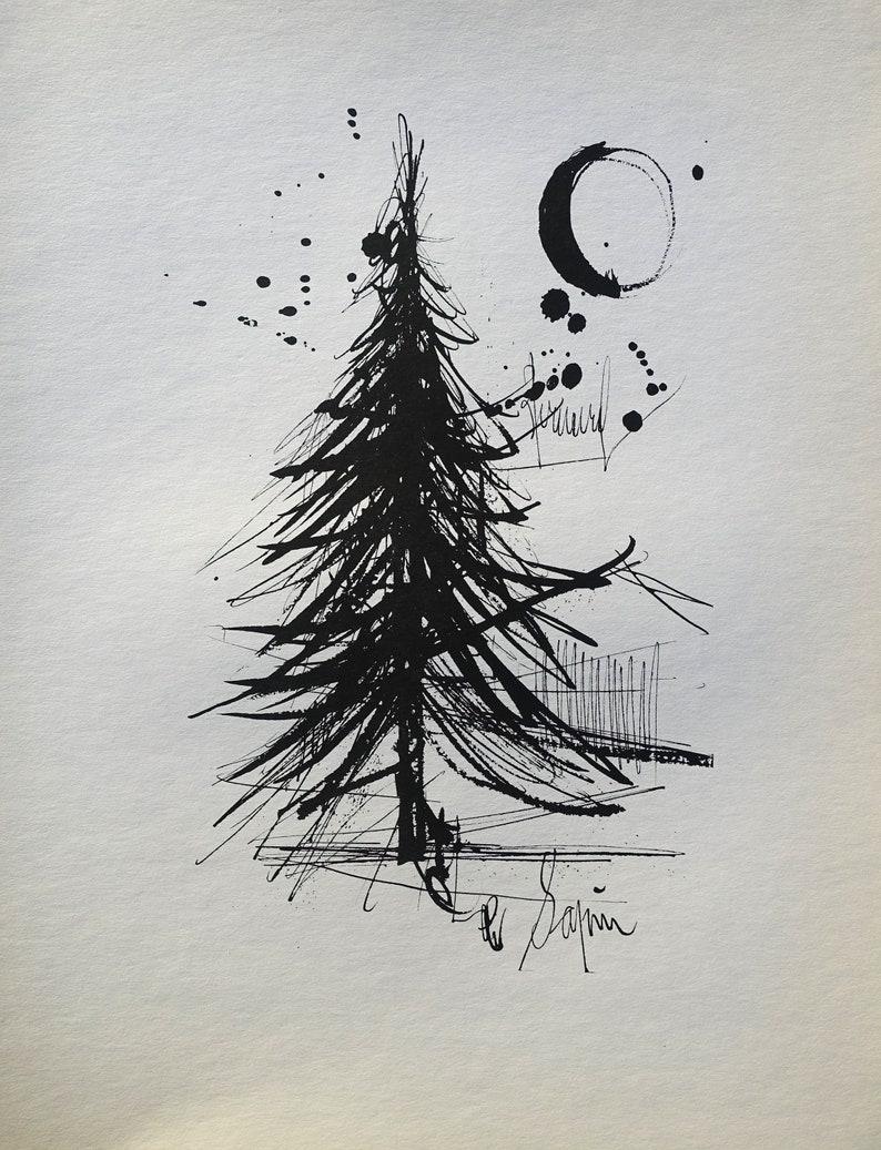 Original handsigned etching Officially referenced 1961 BUFFET Bernard : The Pine