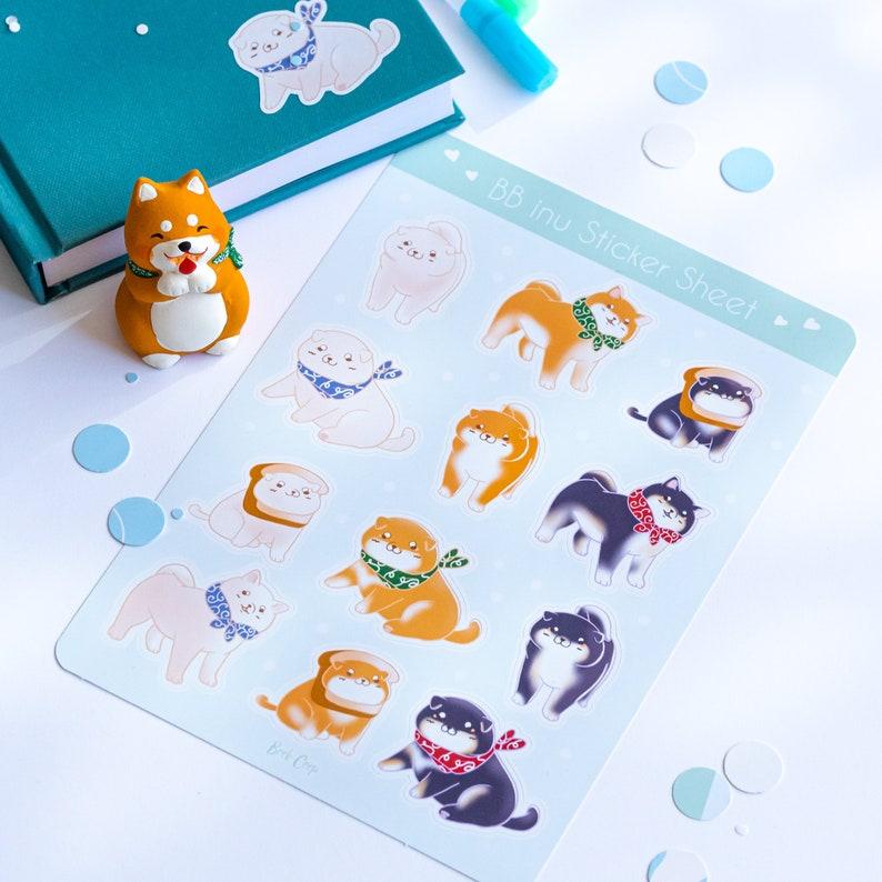 Kawaii Puppy Dog Labels Stickersheet Shiba Inu Planner Stickers Shiba Puppies with Toast Matte Vinyl Cut
