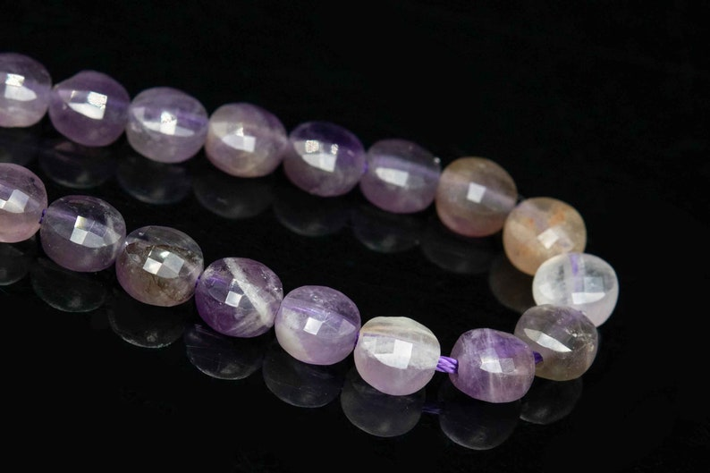 111649 70  35 Pcs 5-6MM Amethyst Beads Grade A Genuine Natural Faceted Flat Round Button Gemstone Loose Beads