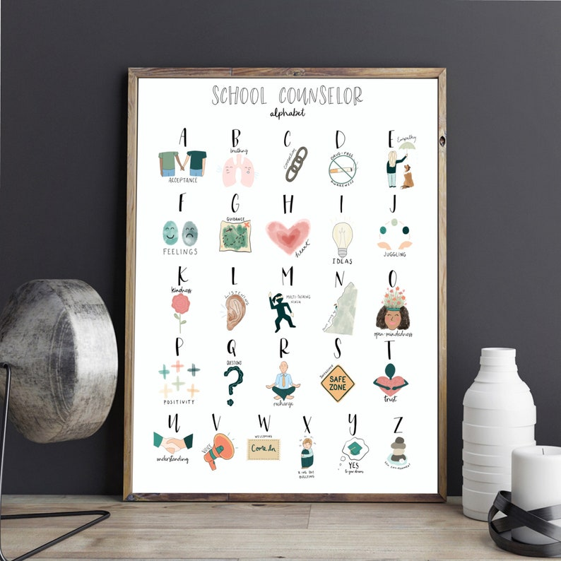 School Counselor Alphabet Print  counseling gift ABC office image 0