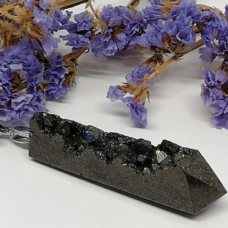 Long black crystal pendant with holographic glitter