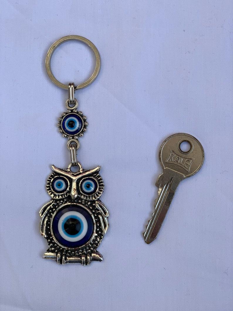 Owl Keychain,Evileye beads Keychain,Blue evil eye,Gift,birthday gift,home accessory,car accessory,Christmas gift,bag desing,handmade