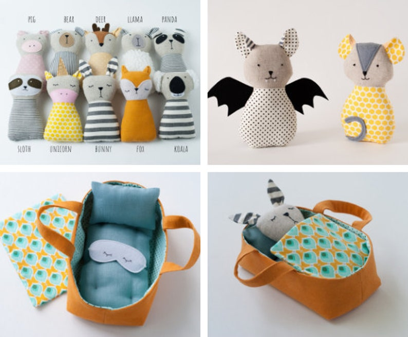 PDF animals sewing pattern stuffed toy tutorial Sleeping Basket for dolls Bedding set Play Set Doll carrier Travel Bed beginner sewing toys