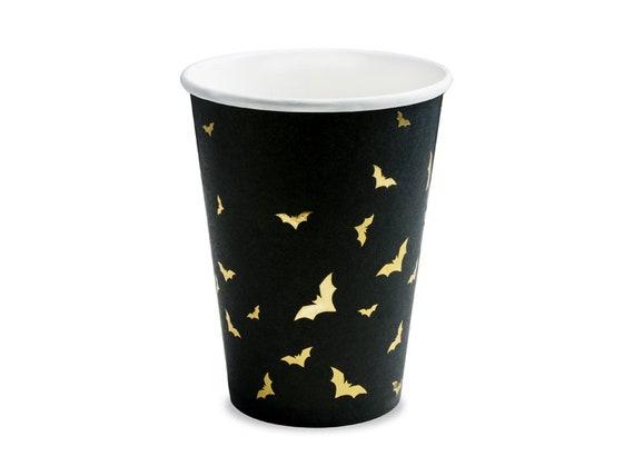 Trick or Treat Fiesta de los Muertos Halloween Table Halloween Party 6 Paper cups gold bats Black Drinking Cups Kids Party Decorations