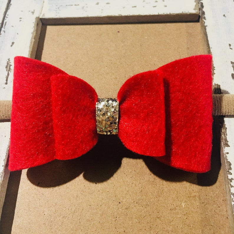 Big Red Baby Bow Headband Red Christmas Bow Red Baby image 0