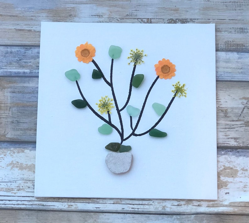 Colorful sea glass flower with pressed flowers unframed or framed 8 by 8