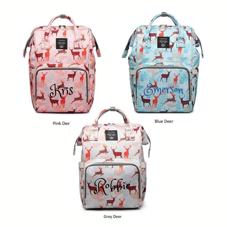 PERSONALIZED Large Diaper Bag Knapsack BLUE Leaves Custom Monogram Name Embroidered Backpack Diaper bag infant Baby Bag Gift Nappy Bag