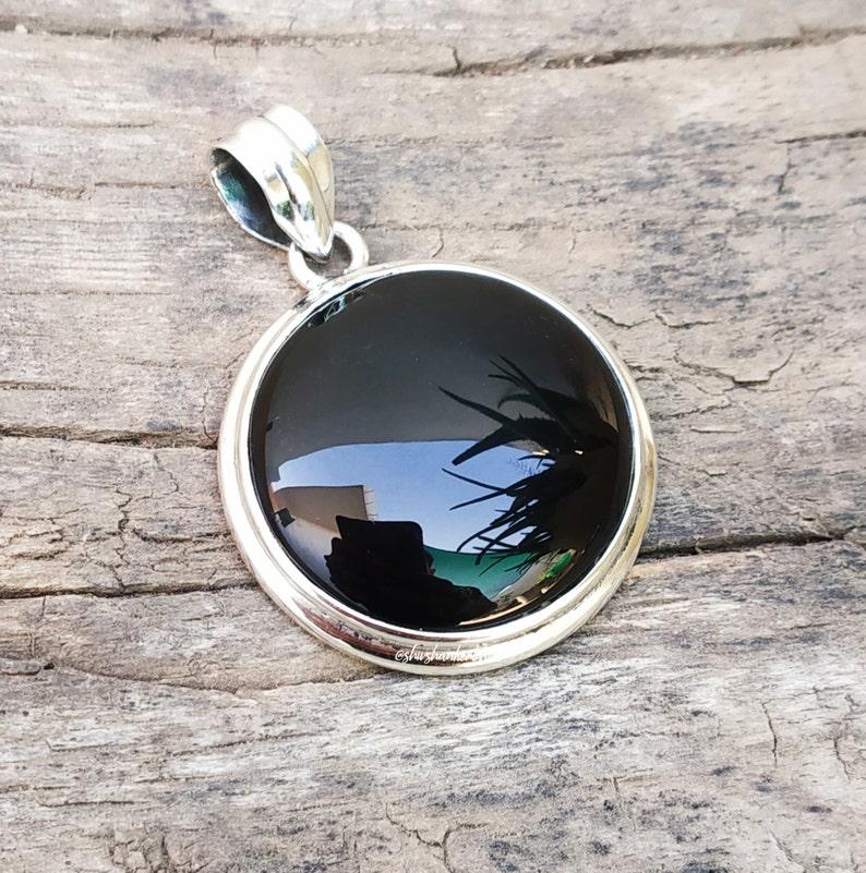 Artisan Jewelry Black Onyx Jewelry Black Onyx Pendant Round stone pendant 92.5/% silver pendant Statement Pendant December Birthstone