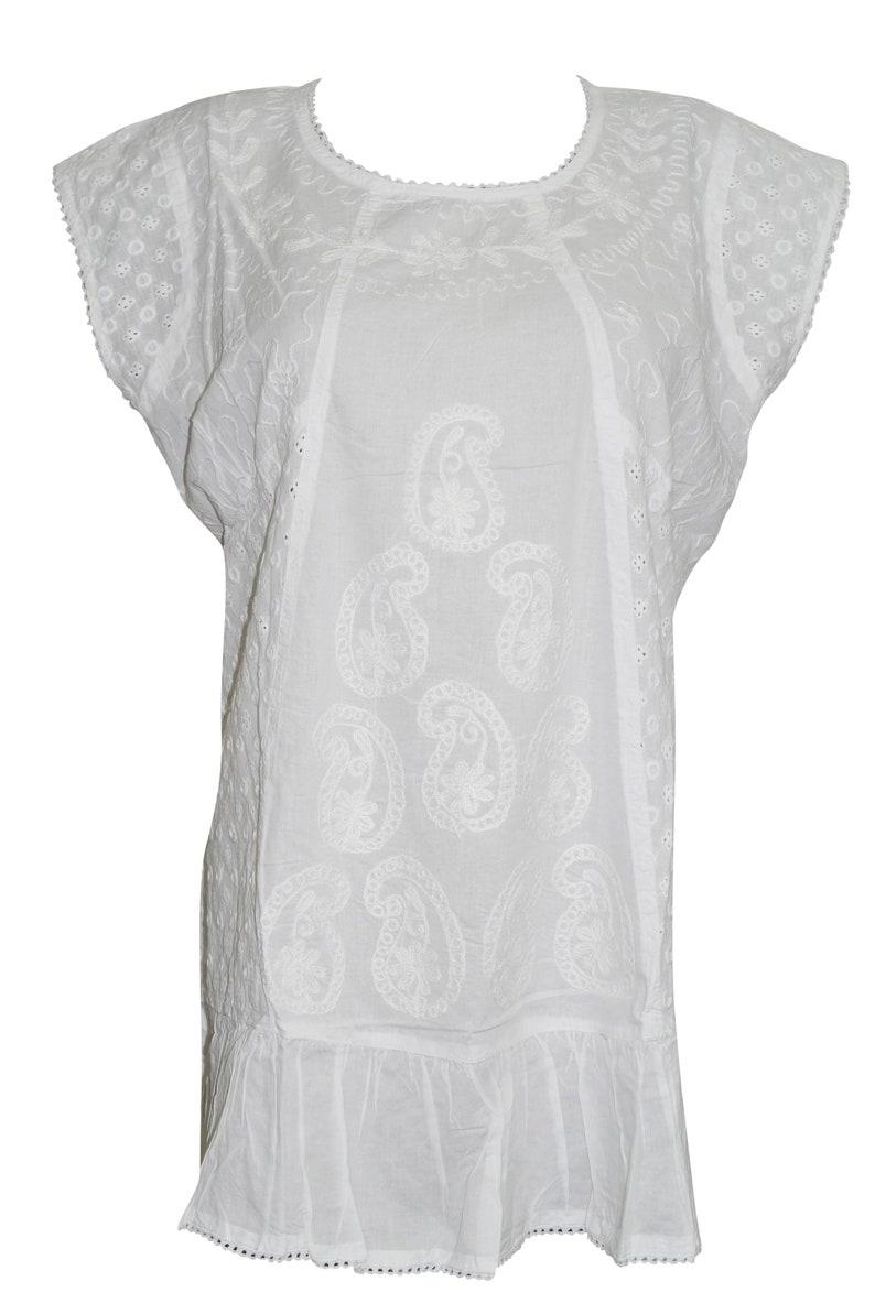 Womens Tunic White Embroidered Sleeveless Summer Bohemian Cotton Beach Blouse L