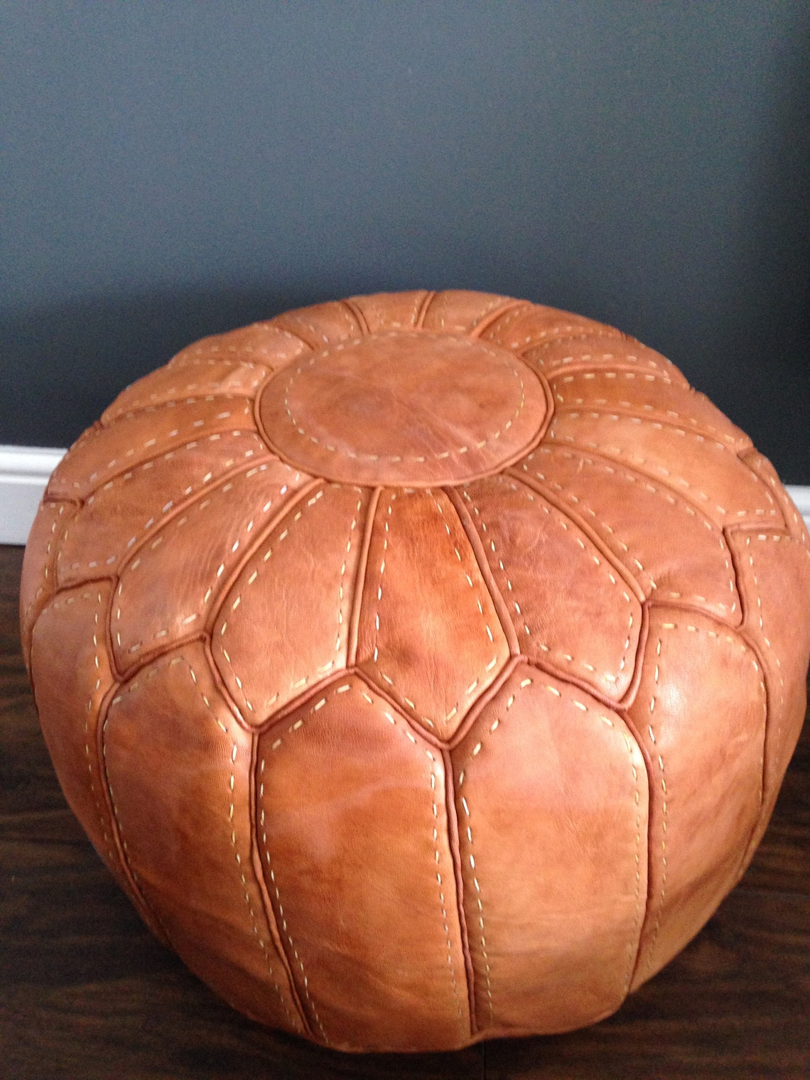 Moroccan Leather Pouffe (filled) - Natural Tan stitched