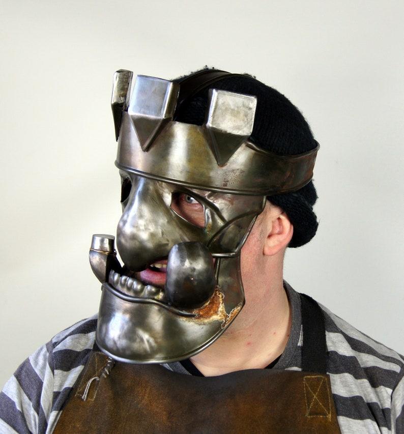 Troll Or Ogren Mask of Steel-Armor Metal-Fantasy LARP Cosplay image 0