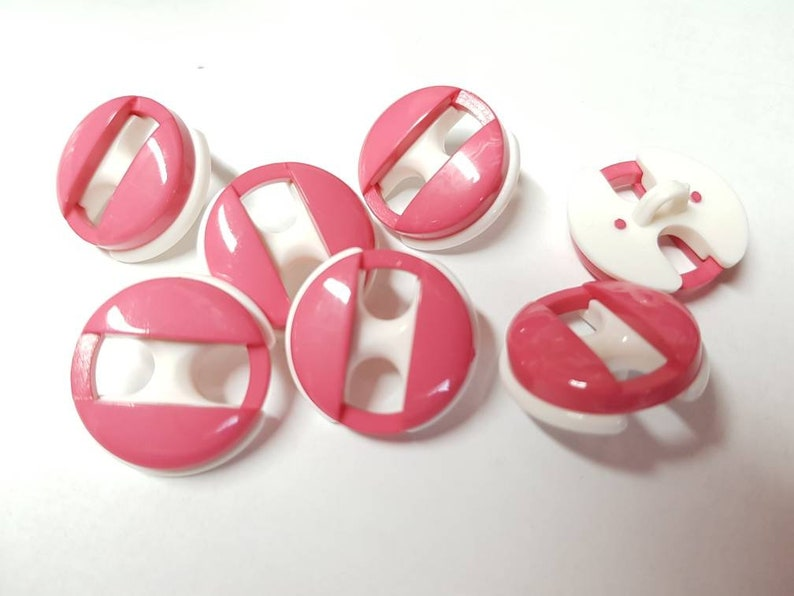 9 Pink Pink White Retro Buttons of 25 mm K127a