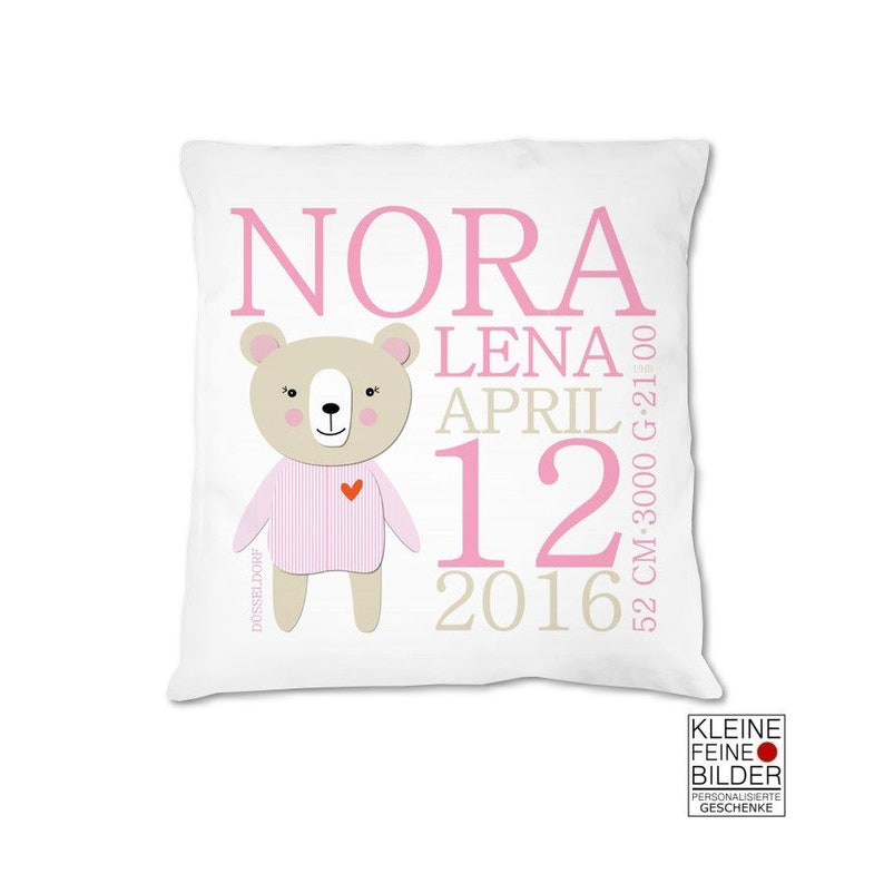 Baby pillow personalized with name baby pillow for birth image 0