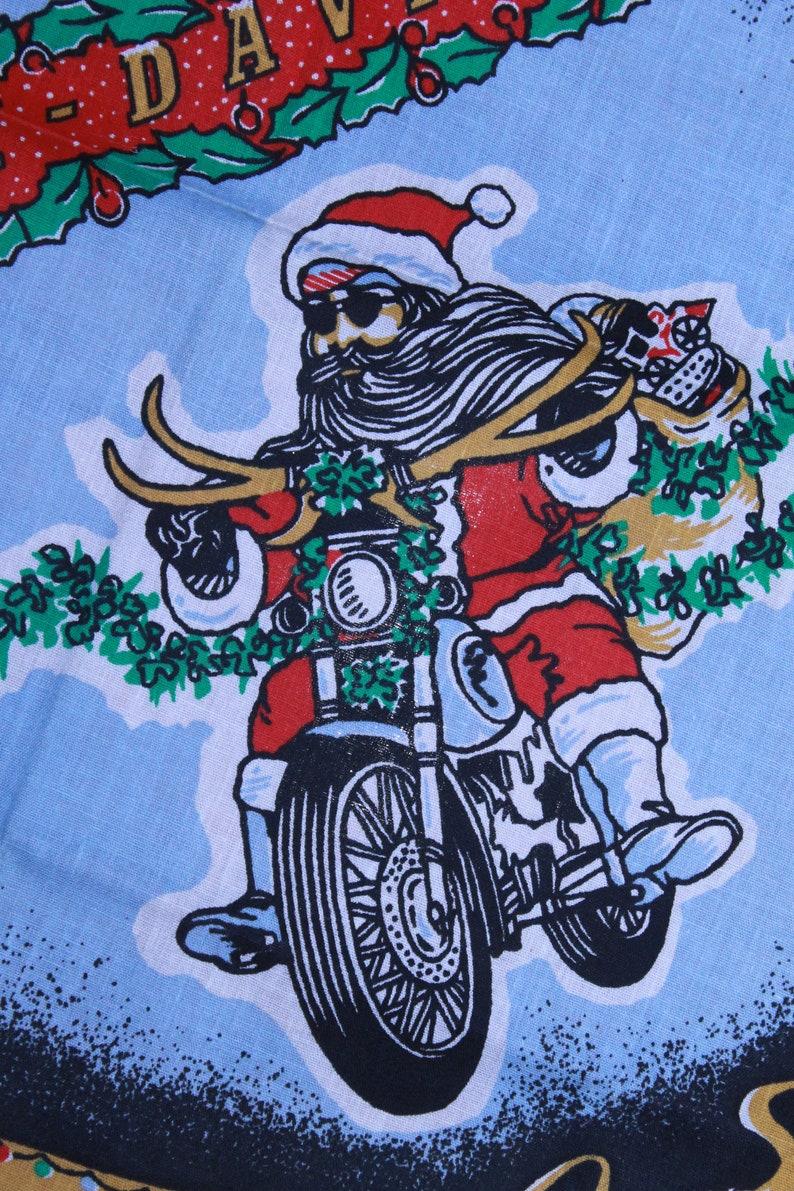 Vintage 1998 Harley Davidson White Grain Shirt Toy DriveBiker Santa Bandana