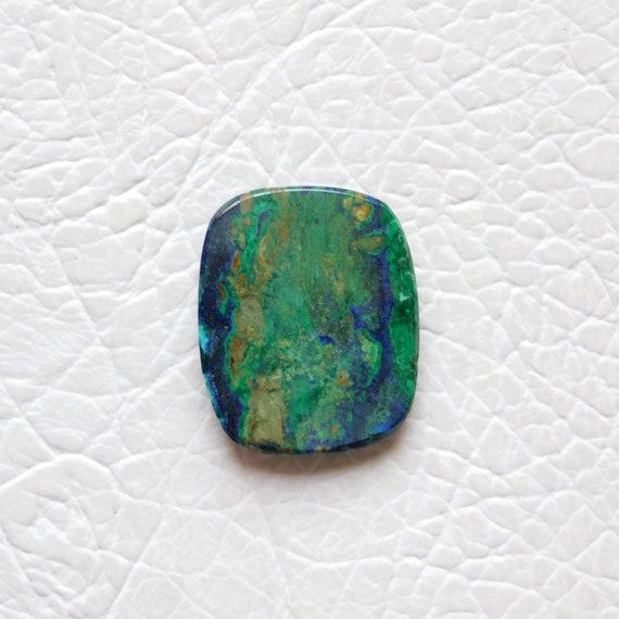Cushion Shape Azurite Malachite Gemstone Rare Azurite Malachite Cabochon Gemstone Big Size 42*35*5mm 104Cts Designer Cabochon