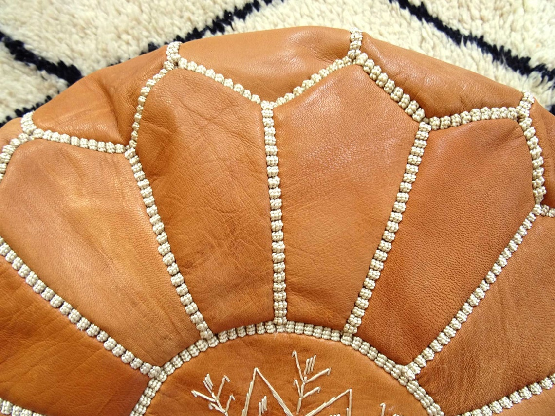 Stuffed Leather Moroccan Pouf - Tan pouf - Ottoman Footstool - Natural Leather pouffe - floor pouf - handmade pouf - Unstuffed pouf