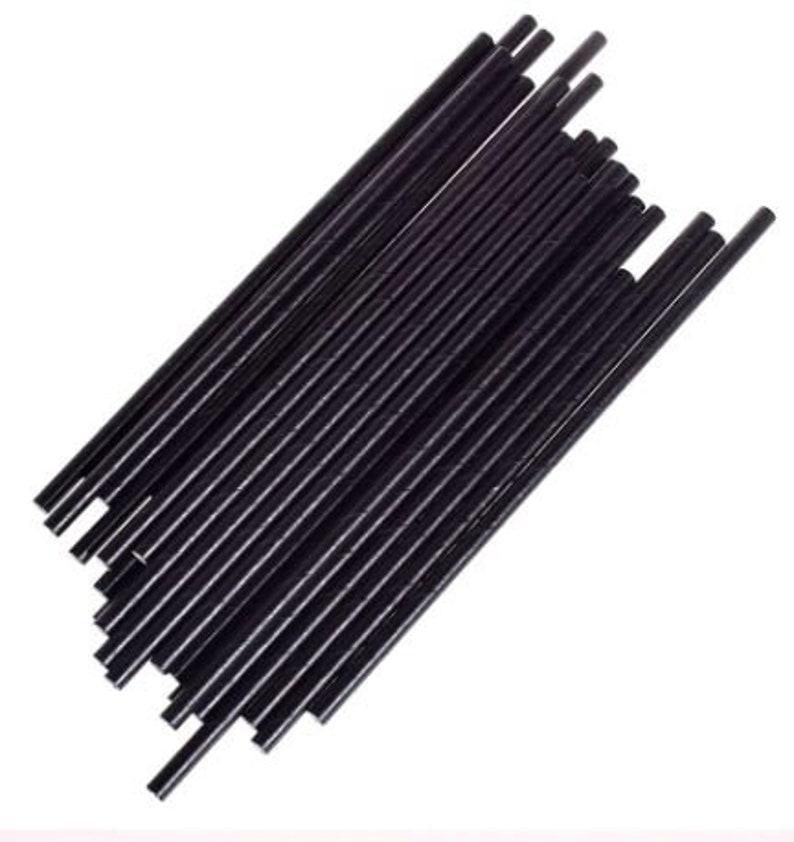 24 Solid Black Paper Straws
