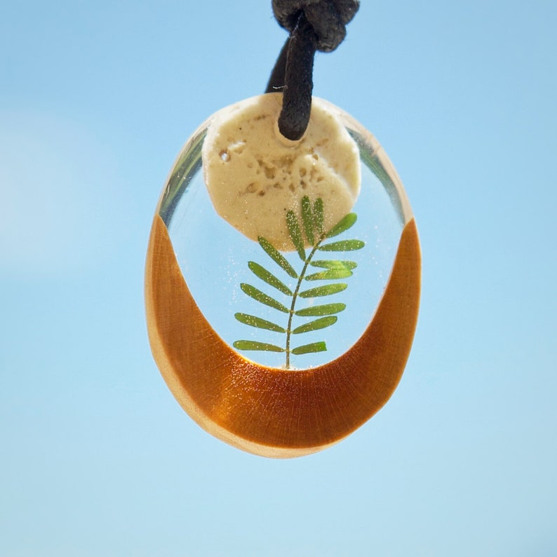 Moonrise /_ Botanical pendant real pressed leaf casted in transparent epoxy resin  arbutus tree wood and natural dolomite limestone