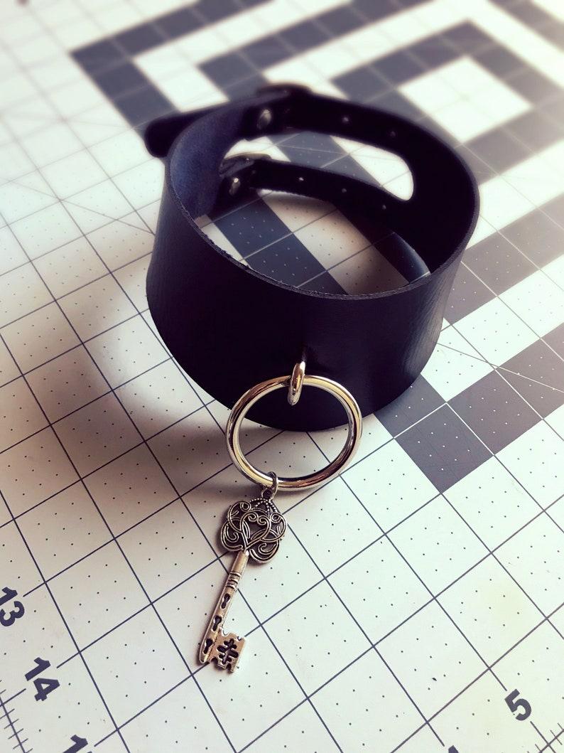 Black BDSM Cuff Collar A Kitten Play Collar DDLG or Submissive Collar Tall O Ring Key Sub Collar or Dominatrix Gift as a Slave Collar