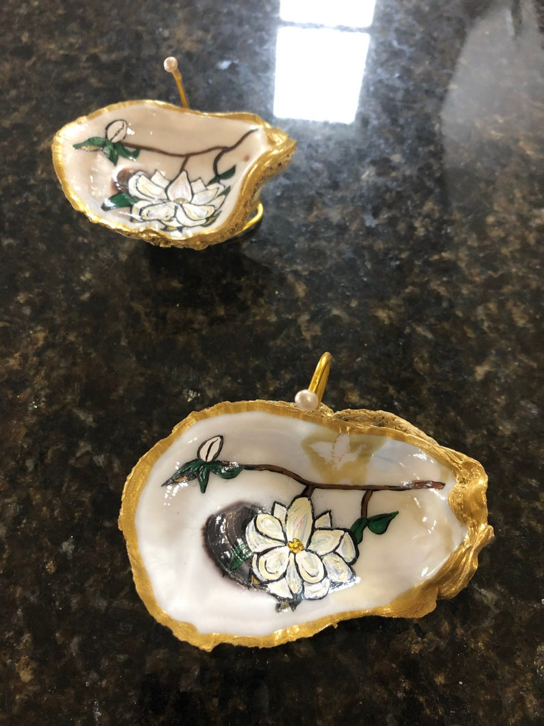 Jewelry Tray Magnolia,Painted Oyster,Ring Dish