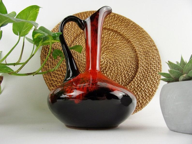 Vintage Mid Century Vase Lava Glaze Art Pottery Orange Modern Pitcher Ewer