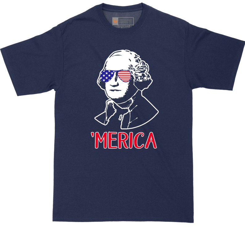 Funny  T-Shirt Graphic T-Shirt Big and Tall Men George Washington America Fourth of July