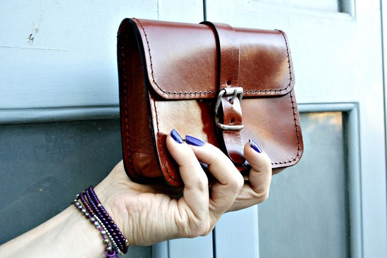 Greek Leather Structured Purse Women gift Belt Strap Bag Birthday Gift for her Vintage 70s Bag Handbag Small Bag Small Boho Bag