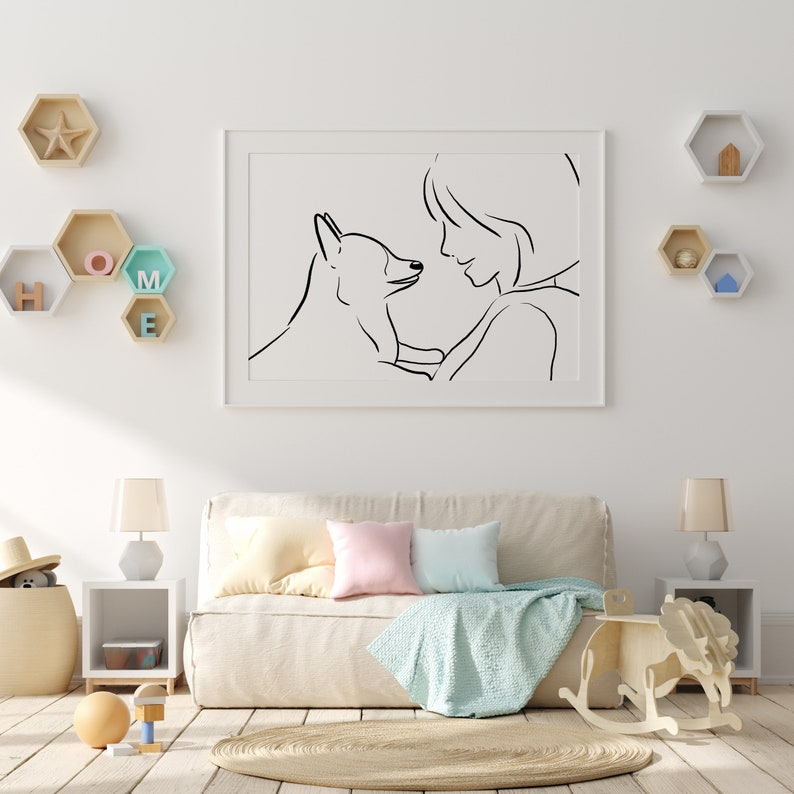 Simple Artwork Modern Line Wall Art Corgi Decor. Corgi Lover Gift Above Sofa Art Corgi Line Drawing Print Dog Line Art Above Bed