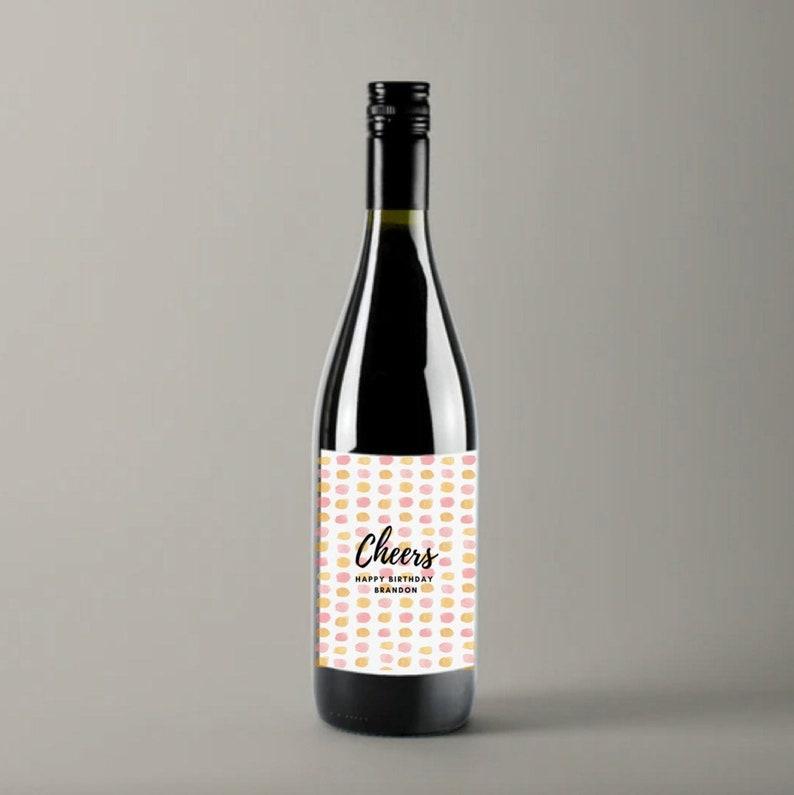 Cheers Happy Birthday Personalized birthday wine label Birthday Wine Label