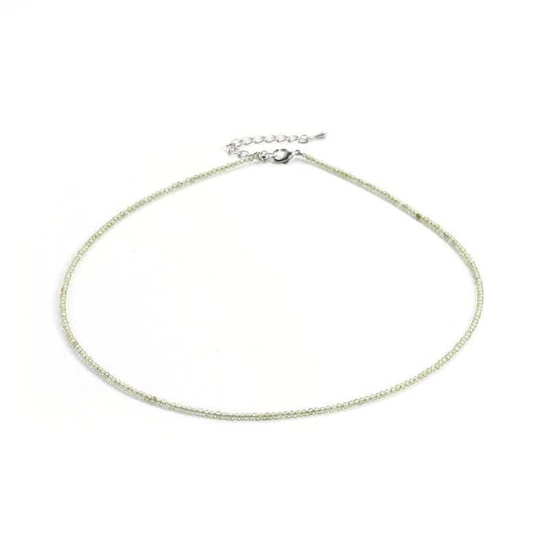 Faceted Crystal Necklace Peridot Necklace Peridot Choker Necklace Genuine Peridot